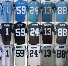 Best quality jersey Men's 1 Cam Newton 59 LukeKuechly 24 Josh Norman 88 Greg Olsen 13 Kelvin Benjamin Elite Jersey Size:M-XXXL(China (Mainland))