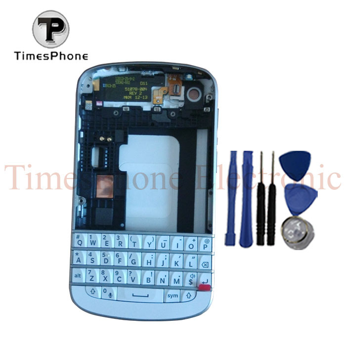 Black White Original Full Housing For Blackberry Q10 Front Housing +Middle Board Bezel +Back Cover Door+ Keypad With Free Tools(China (Mainland))
