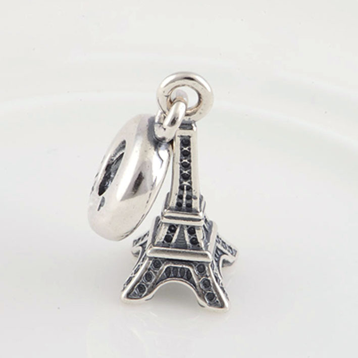 Hot Sale Fits Pandora Charms Bracelet Necklace 925 Sterling Silver Eiffel Tower Charm Pendant with DIY Jewelry Making(China (Mainland))