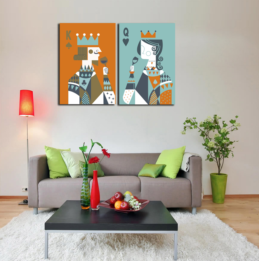 Buy 2 pieces picture poker king and queen for Home decor queen west