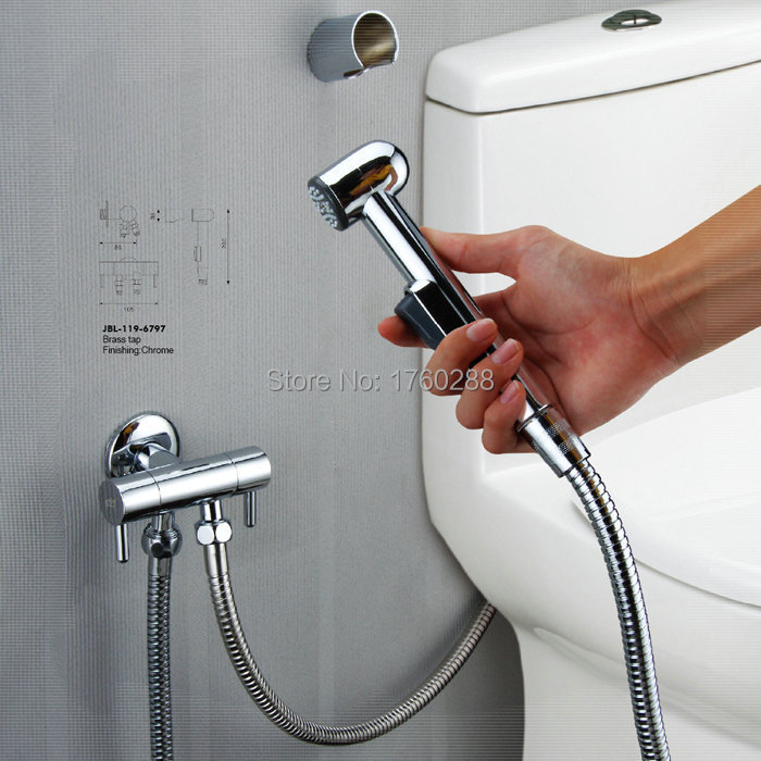 Toilet Faucet : bidet handheld small shower syringe toilet spray gun set faucets ...