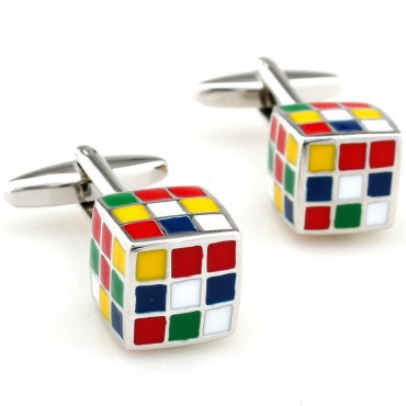 Fashion Enamel Superhero Metal Knots Magic Cube Cufflink Cuff Link 1 Pair Free Shipping Crazy Promotion(China (Mainland))