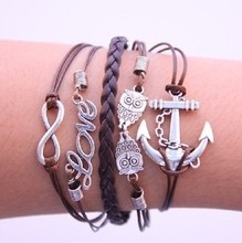 viviLady Vintage Silver Plated Infinity Owl Love Anchor Charms Bracelets Imitation Leather Rope New Jewelry(China (Mainland))