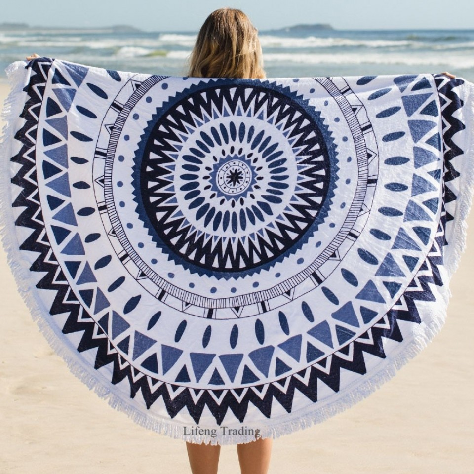 Round Bohemia Beach Towel 100% Cotton Printed Tassel Knitted 150*150cm summer Bath towel toalla playa serviette de plage swim(China (Mainland))