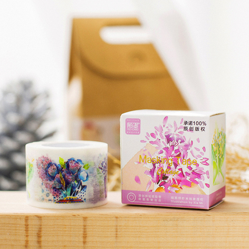 3cm Wide Fresh Style Watercolour Flowers Washi tape Adhesive Tape DIY Scrapbooking Sticker Label limited edition washi tapes1pcs(China (Mainland))
