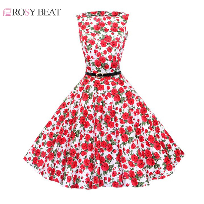 2016 Plus Size Vintage Audrey Hepburn Elegant Floral Print Sleeveless Dress Robe Casual 50s Women Ball Gown Dresses with Sashes(China (Mainland))