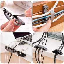 10Pcs Line Wire USB Charger Cable Holder Cord Clips convenient Desk Organiser