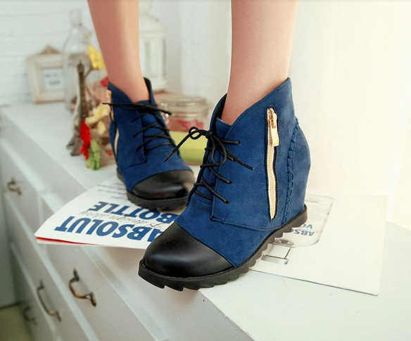 new 2014 Women autumn shoes Hidden Wedges Women's Elevator Shoes lace up Casual Sneakers short ankle boots high heel 8A40(China (Mainland))