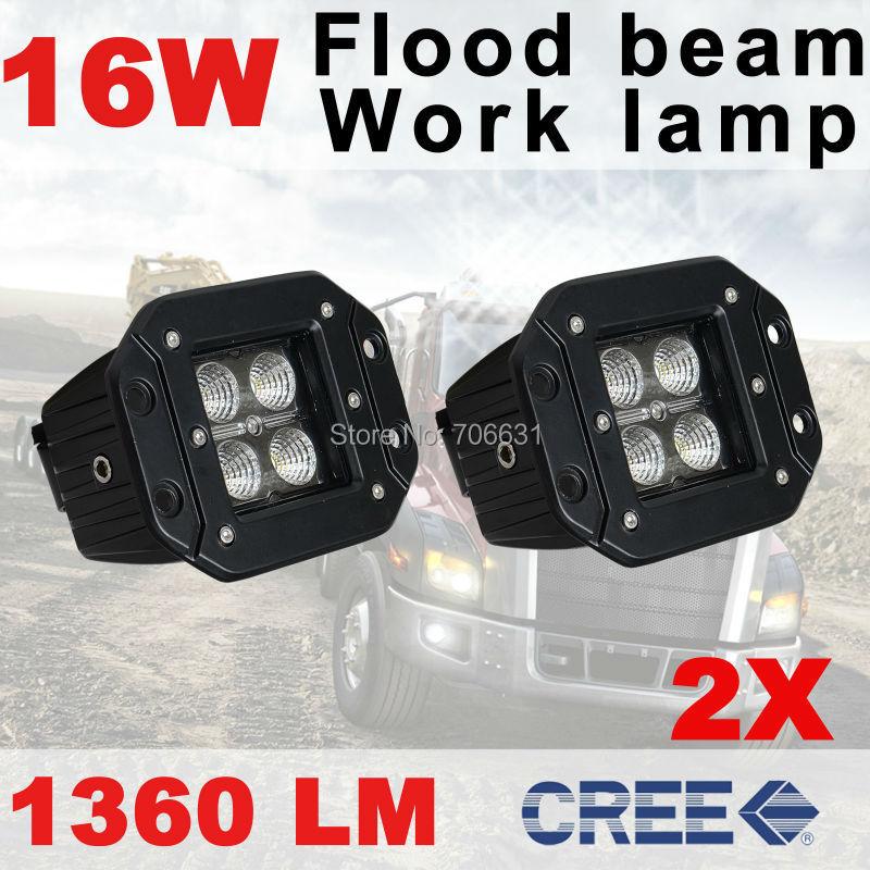 2x 16W Cree Flood Beam LED Work Light offroad Driving Lamp Car Truck Flush Mount<br><br>Aliexpress