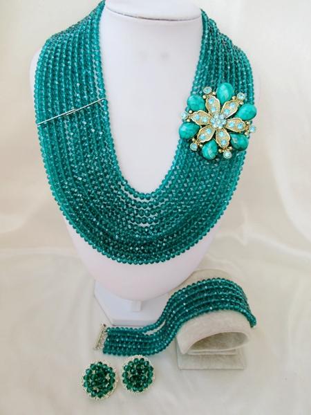 Luxury  Teal  Crystal  Necklaces Bracelet Earrings African Nigerian Wedding Beads Jewelry Set  A-8873<br>