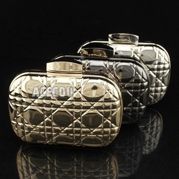 ~~~ 3 colors option Metal FASHION Clutch WOMENS Handbag Luxury Party Bag Purse Hard Box hot - Acecoo Trading Co., Ltd. store