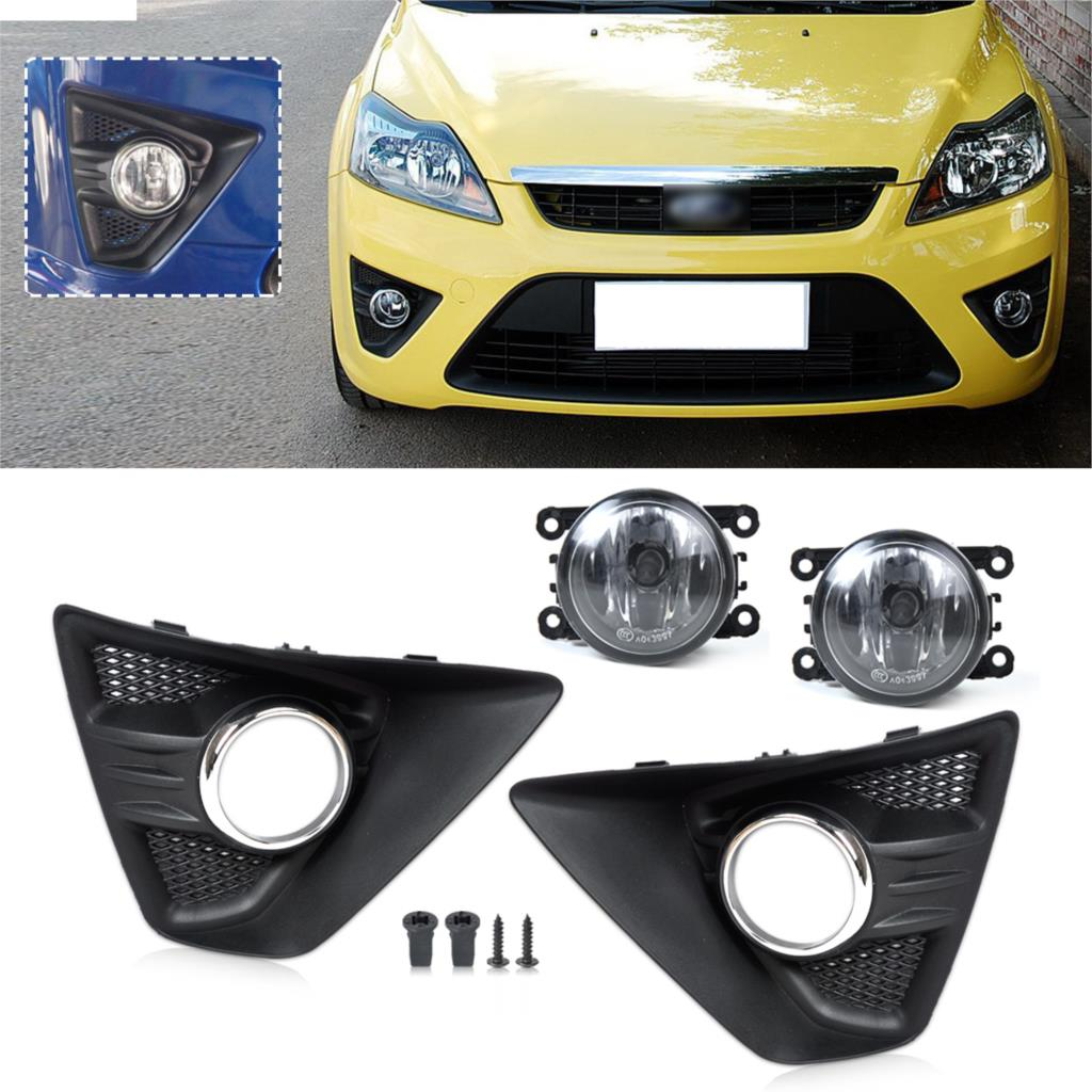Tracking # Brand New Black 4x Front Fog Light Lamp Cover Grille Grill Kit For Ford Focus Hatchback 2009 2010 2011 2012 2013 2014(China (Mainland))