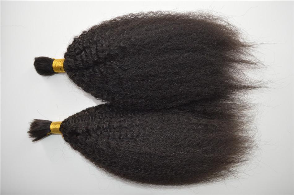 Kinky Straight Human Braiding Hair Bulk No Attachment Virgin Peruvian Coarse Yaki Human Hair Bulk For Braiding