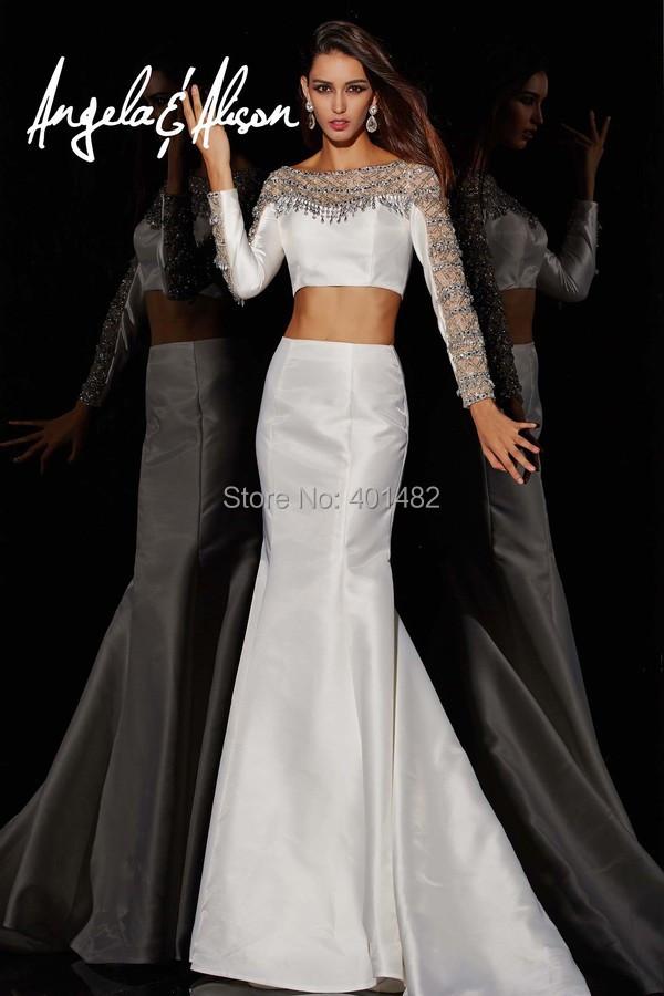 Shiny Mermaid Evening Dress Long Sleeves Two Pieces Crystal Beads Dresses vestido de festa Custom Made - Elaine Fashion --- 100% Satisfaction store