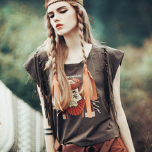 Aporia.AS Women Summer Vintage Retro Trend Gypsy Style Tassel Character Print Casaul Loose Plus Size All-Match Cotton T-Shirts