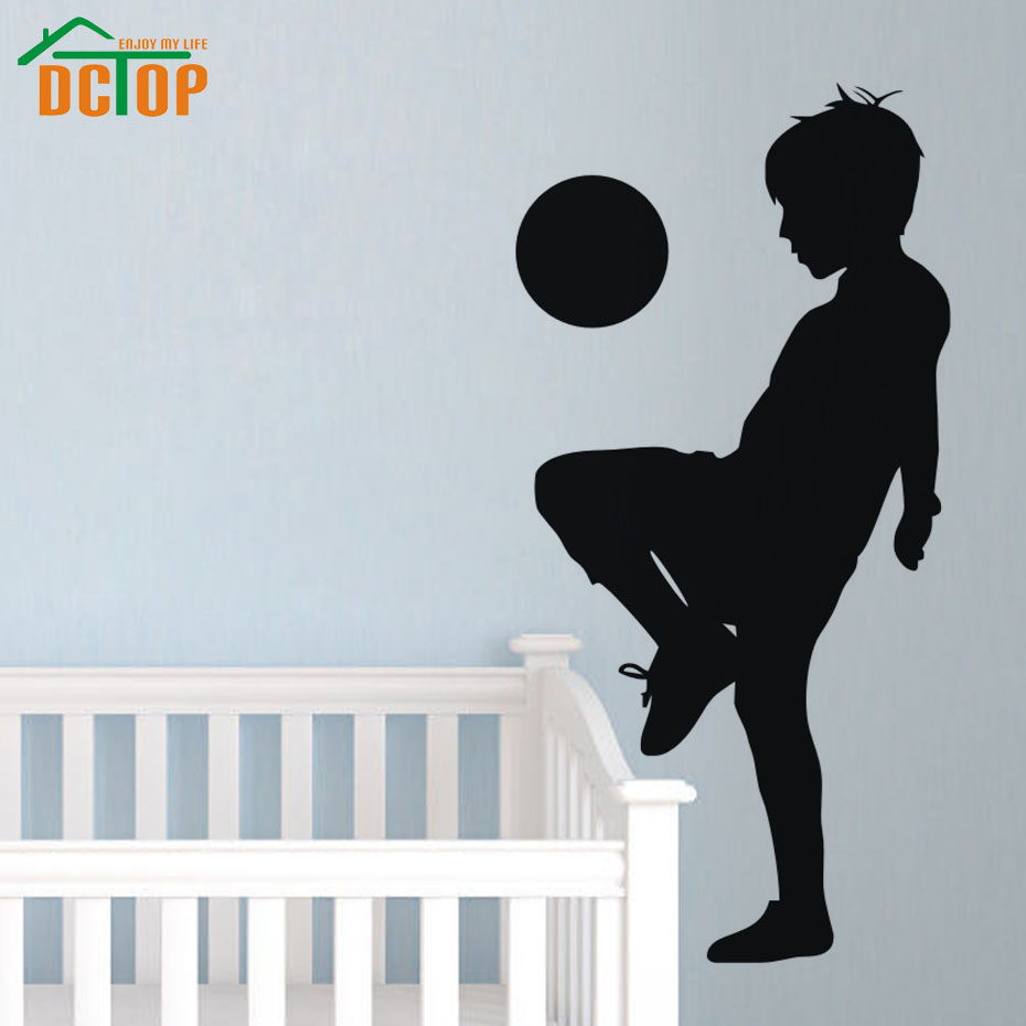 Boy Playing Soccer Silhouette portrait Wall Sticker Football Kids Bedroom Poster Vinyl Removable Decor For Children Room Decals