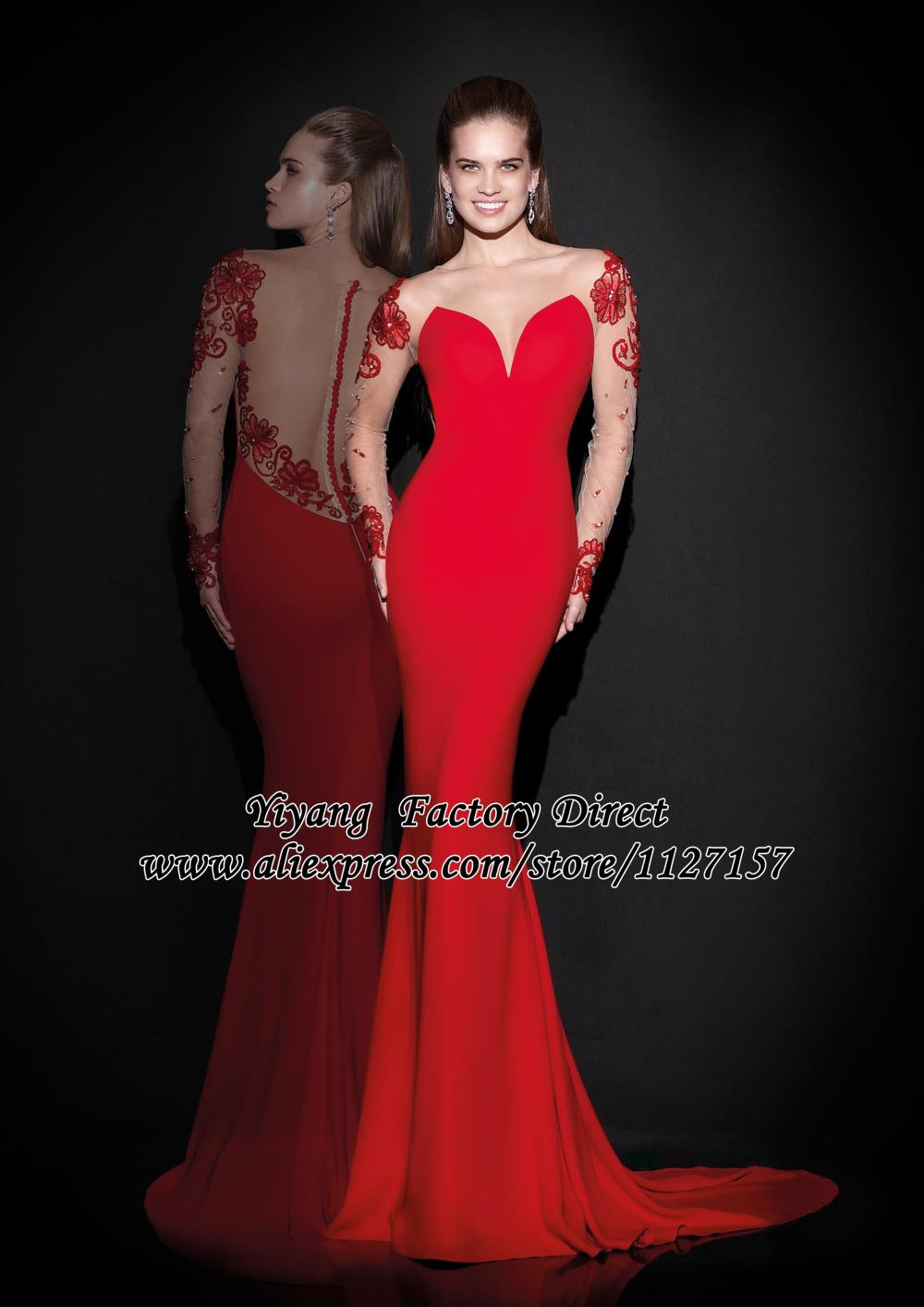2015 Red Spandex Mermaid Beaded Appliques Long Sleeves Fishtail Evening Dress - Yiyang Wedding Factory Direct store