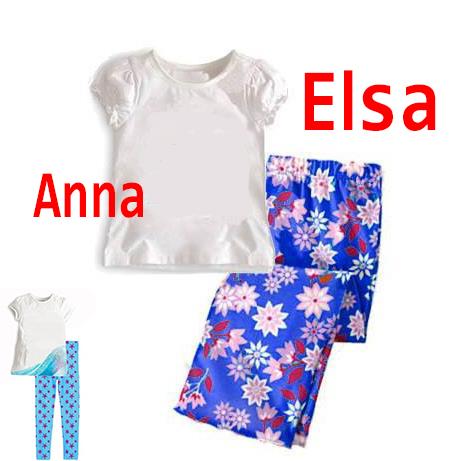Retail 2015 baby girls brand clothing sets Anna and Elsa t-shirt + long pant kids clothes summer style mickey 2pcs tracksuits(China (Mainland))