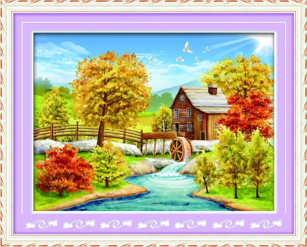 Print canvas + rhinestone beads mosaic diamond painting,landscape home wall decoration,DIY handmade gorjuss and hobby and craft(China (Mainland))