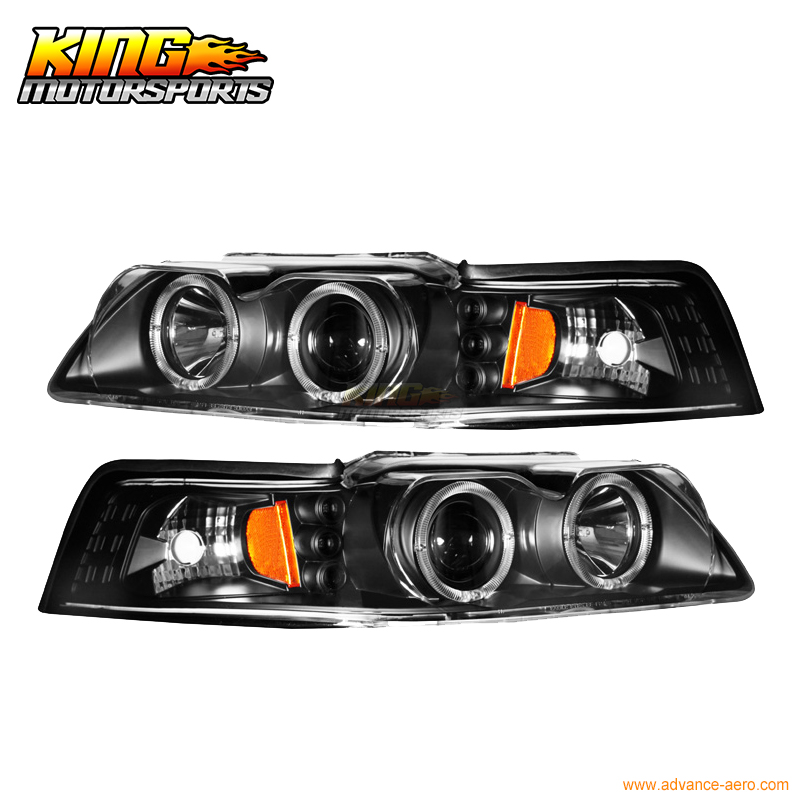 For 1999-2004 Ford Mustang Black Halo Projector Headlights Lamp USA Domestic Free Shipping(China (Mainland))