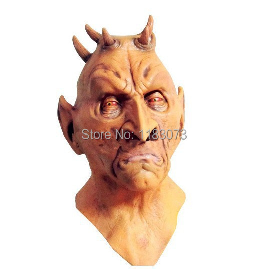 Six Horned Mask Scary Monster latex Masks fiting Halloween All Party Fancy Dress Toys Free Shipping(China (Mainland))