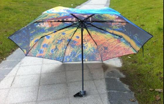 По всему миру бесплатная доставка мода ручная роспись старые дома печать ультрафиолетового доказательство 3D зонтик