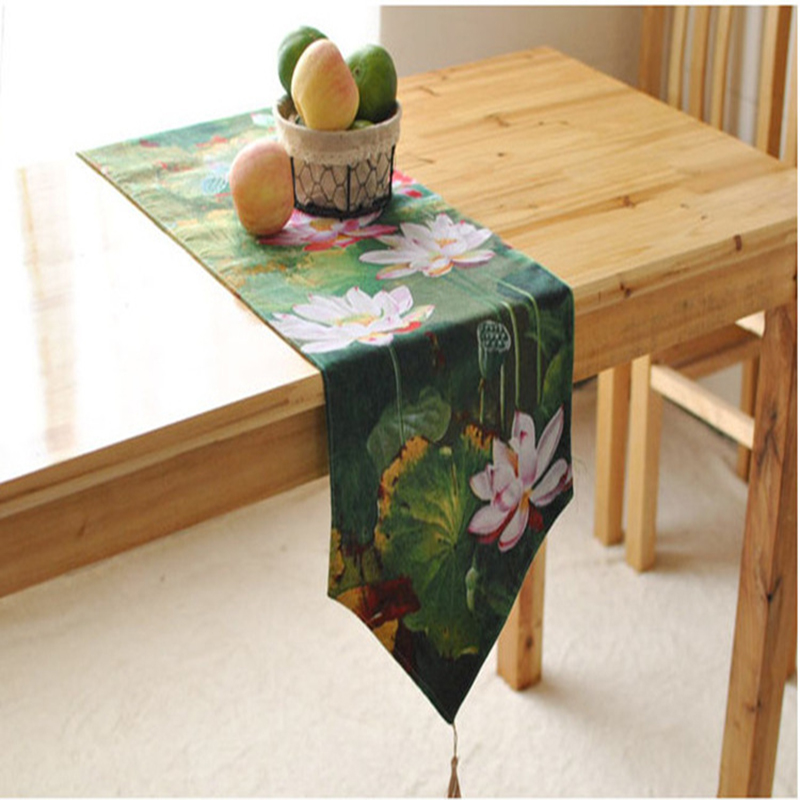 Traditional classical green lotus crochet table runner charm new design table runner cotton cloth JX-R008(China (Mainland))