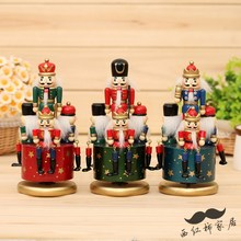 Traditional Germany Wooden Nutcracker Doll toy clockwork Music Box toys for shop decoration
