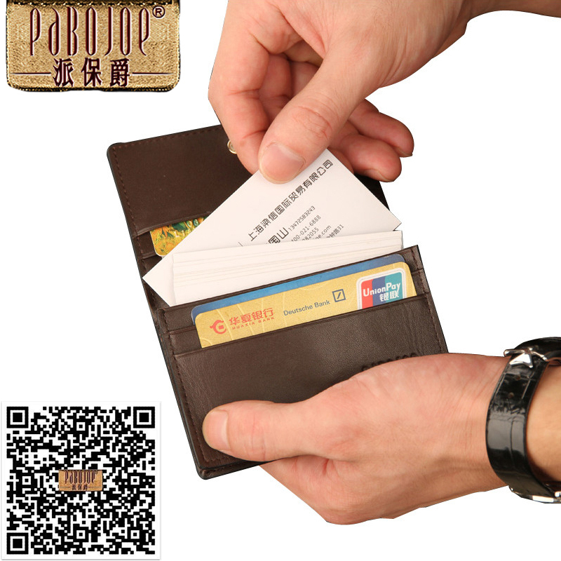2015 New 100 Pieces Business Cards Holder Decent Mini Real Leather Convenient 5 Slots ID Card