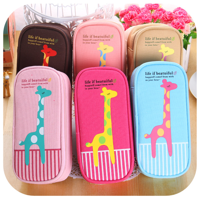 Korea creative stationery cute multifunction large capacity pencil case giraffe canvas female students canvas pencil cases<br><br>Aliexpress