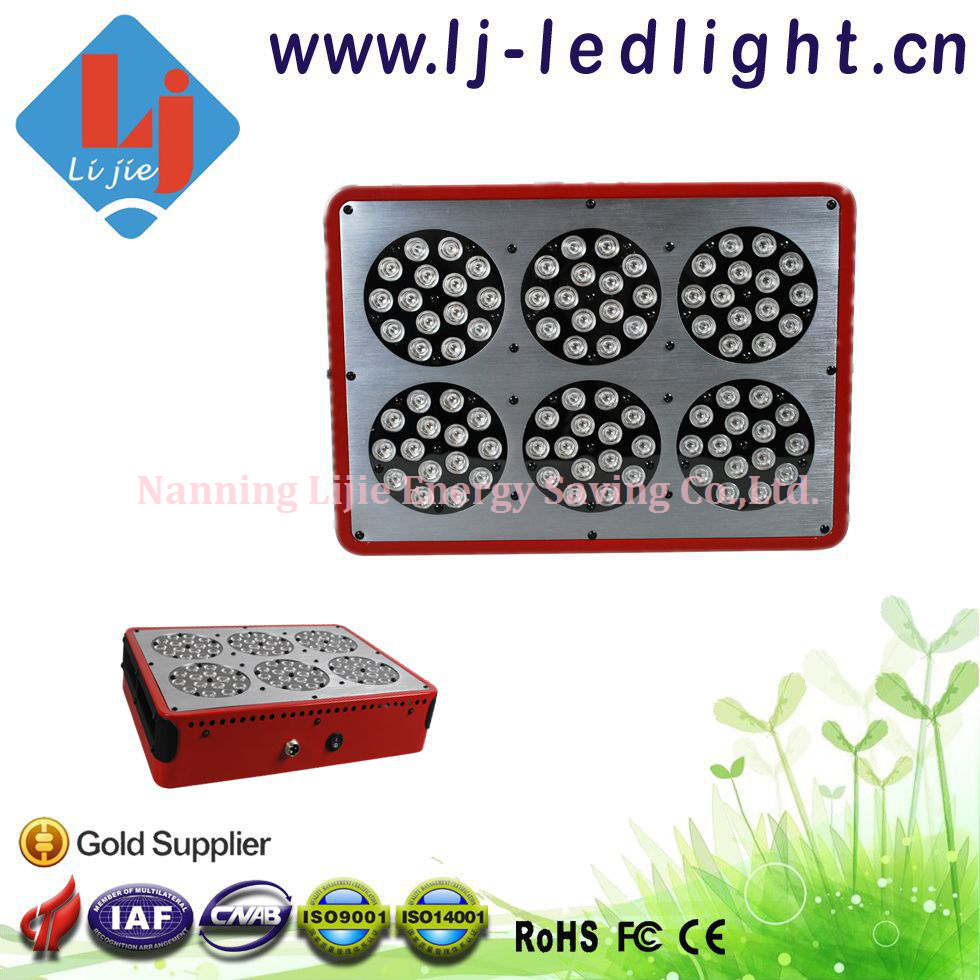 High Efficiency 270W Apollo 6 LED Grow Light 90*3W Full Spectrum R/B/O/UV/IR/W with Lens for Hydroponic System Green House(China (Mainland))
