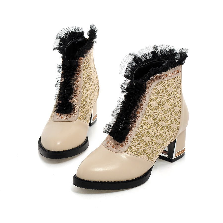 Fashion women ankle boots sexy lace pointed toe square heels boots black white beige red high-quality shoes woman Plus size