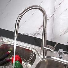 Commercio all'ingrosso e al dettaglio di lusso nichel spazzolato pull out spray un foro monocomando miscelatore della cucina rubinetto(China (Mainland))