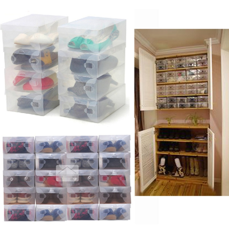 High Quality 10pcs/lot Clear Foldable Plastic Shoe Storage Case Boxes Stackable Organizer Shoe Holder Hot(China (Mainland))
