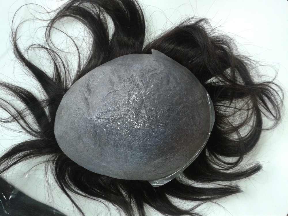 "7""x9"" Slight Wave Human Hair Toppers European Human Hair Toupee for Men Thin Skin Base Toupee"
