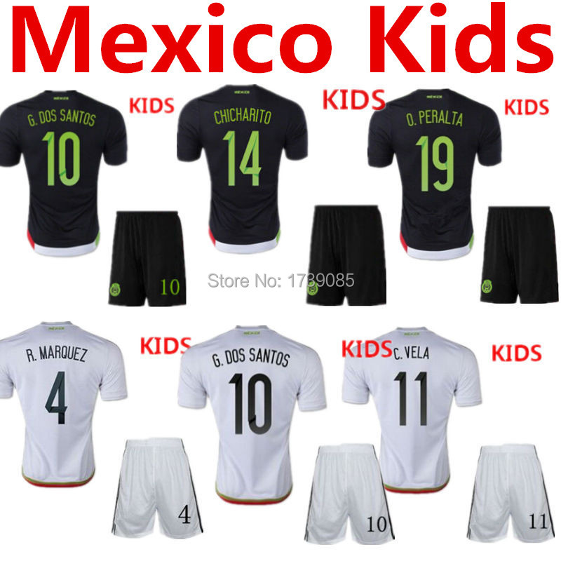 Soccer Jersey Mexico Kids 2015 Mexico Children Uniform Black Mexico Kids White 15 16 G.Dos Santos Baby Boys CHICHARITO Youth Kit(China (Mainland))