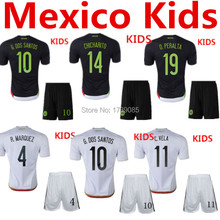Soccer Jersey Mexico Kids 2015 Mexico Children Uniform Black Mexico Kids White 15 16 G.Dos Santos Baby Boys CHICHARITO Youth Kit(China (Mainland))