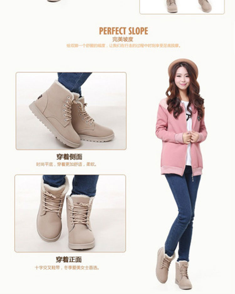 Women Winter Boots Lace Up Ankle Boots for Women 2016 New Arrival Platform Waterproof Snow Boots Women Plush Warm Winter Shoes