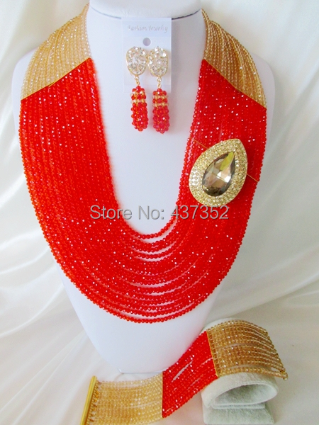 Lovely Beads 22 Long 16 layers Champagne Gold and Red Crystal Nigerian Beads Necklaces African Wedding Beads Jewelry Set NC016<br><br>Aliexpress