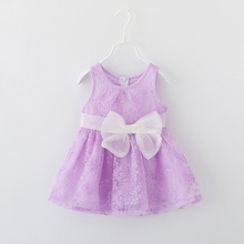 Hot 2016 Summer Baby Girls Embroidery Dresses O-neck Sleeveless Bow Dress High Quality Girl's Pleated Dress Kids Girls Vestidos