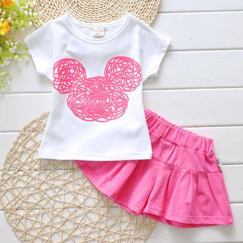 Fashion candy color Girl's clothing set children's sets cotton 2016 baby girl set fashion Cartoon princess t-shirts+skirts sets
