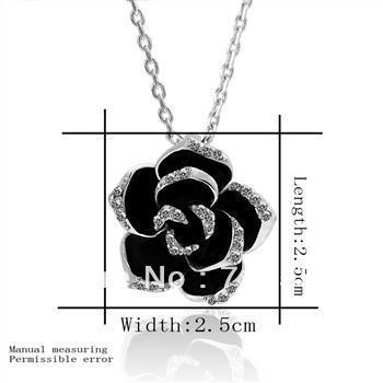 KN13   18K Gold Plated Big Black Rose Fashion Jewelry  Necklace Pendant Nickel free Rhinestone Crystal SWA Elements
