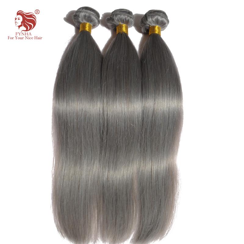 3pcs/lot grade 6a grey hair brazilian hair weave bundles straight human hair extension DHL