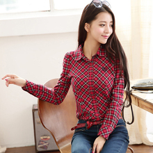 2015 spring new long-sleeved shirt Slim Korean female commuter college wind England plaid cotton shirt(China (Mainland))