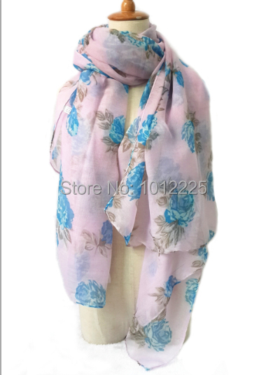 New Pretty Women Rose Flower Hijab Shawl Romantic and Soft Voile Scarves For Muslim Wear(China (Mainland))