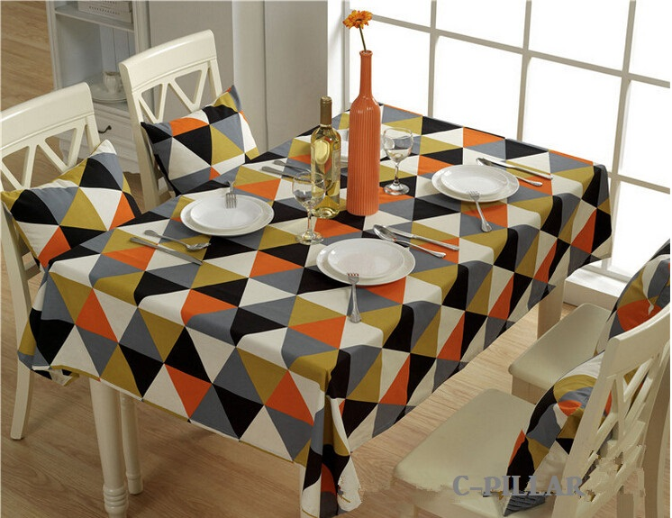 100% Cotton Canvas Tablecloth Geometric Hotel Table Covers Fresh Striped Tablecloths for Home Decoration(China (Mainland))