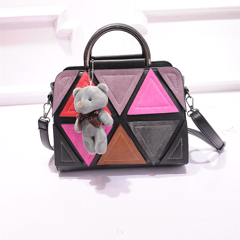 Фотография 2016 New Fashion Women PU Leather Handbag Casual diamond type lattices women Messager Bags vintage shoulder Bag patchwork