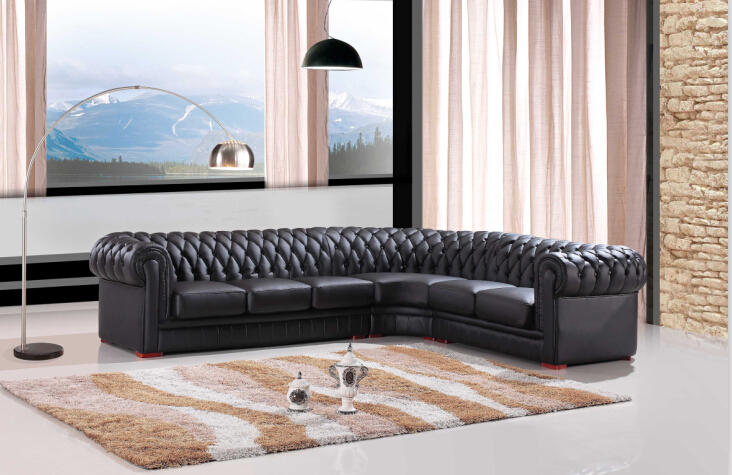 Modern sectional sofa for leather Chesterfield sofa Black ...