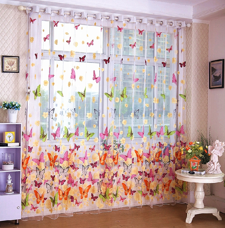 Занавеска Lansier  butterflies window tulle curtain window decor roman pastoral style sheer tulle curtain