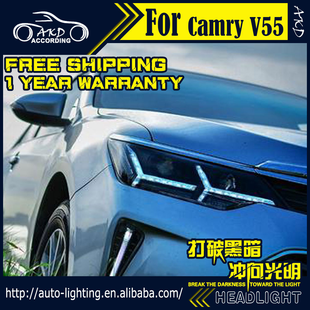 Car Styling Head Lamp for Toyota Camry V55 LED Headlight 2015-2016 Camry LED DRL Daytime Running Light Bi-Xenon HID Accessories(China (Mainland))